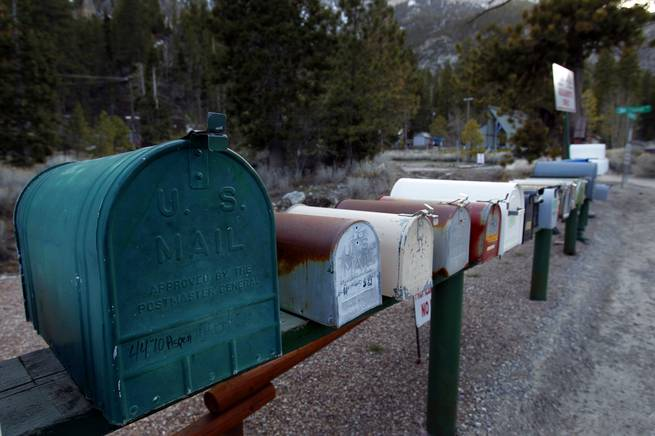 Mailboxes are lined up in the Old Town subdivision in Kyle Canyon on Mount Charleston Thursday, April 5, 2012.