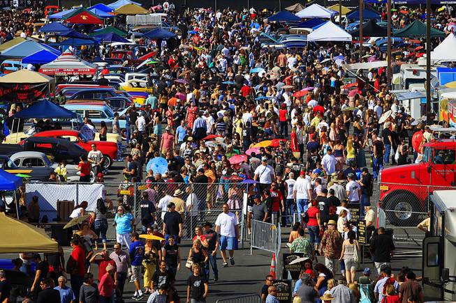 Attendees fill a parking lot for a car show at the Viva Las Vegas rockabilly weekend Saturday, April 7, 2012.