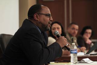 Attorney Richard Boulware speaks during a panel discussion about the killing of Trayvon Martin at UNLV Tuesday, April 10, 2012.