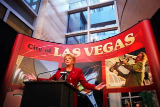 Mayor Carolyn Goodman holds a press conference after the 2012 Las Vegas State of the City address at Las Vegas City Hall on Wednesday, April 11, 2012.