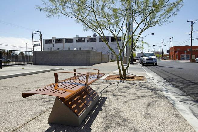A view of  improvements on First Street looking southbound near Hoover Avenue Thursday, April 11, 2012. Trees, tree grates, sidewalk and intersection improvements, streetlights, benches, trash receptacles, pavers and planters were all installed to create a safe, pedestrian environment.