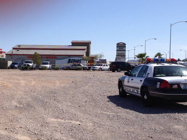 Metro Police are investigating a triple shooting at Bomas Bar & Grill, 8020 S. Durango Drive, on Thursday, April 12, 2012.