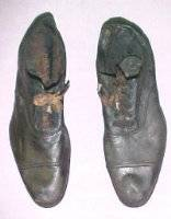 A pair of shoes from Titanic: The Artifact Exhibition at the Luxor.