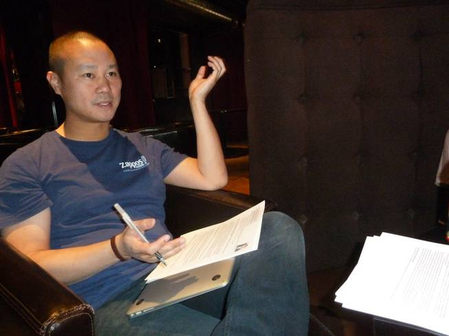 Tony Hsieh during his interview of the Venture for America college students on Friday April 13, 2012.