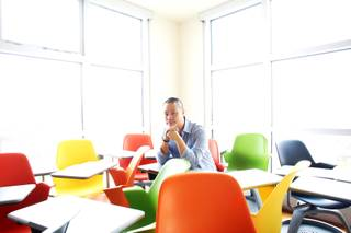 Zappos CEO Tony Hsieh is seen in one of his rooms at the Ogden Friday, April 13, 2012.
