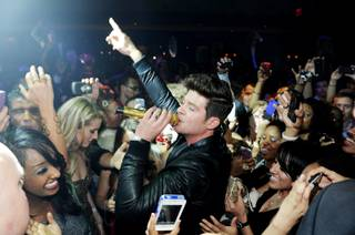 Robin Thicke hosts and performs at 1 OAK in the Mirage on Friday, April 13, 2012.