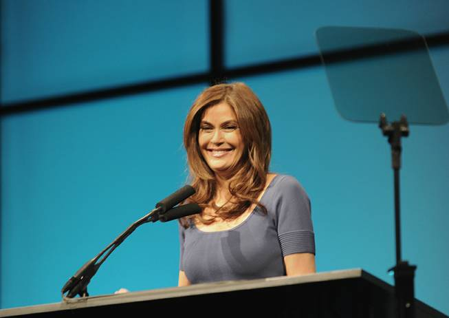 Teri Hatcher speaks at the opening of the National Association of Broadcasters in Las Vegas on Monday, April 16, 2012.