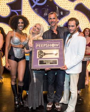 """Peepshow"" celebrates its 3rd anniversary with creator, director and choreographer Jerry Mitchell, lead stars Josh Strickland, Cheaza and Holly Madison and the cast and crew at Planet Hollywood on Monday, April 16, 2012."