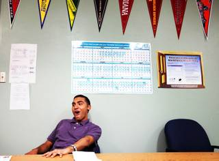 Senior Isai Chavarria reacts to the news that he passed the science and writing Nevada High School Proficiency Exams at Chaparral High School on Wednesday, April 18, 2012.