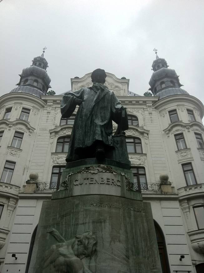 Statue of Johannes Gutenberg, who introduced printing to Europe.