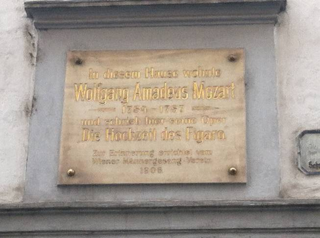 Plaque at the home of Mozart in the center of Vienna.