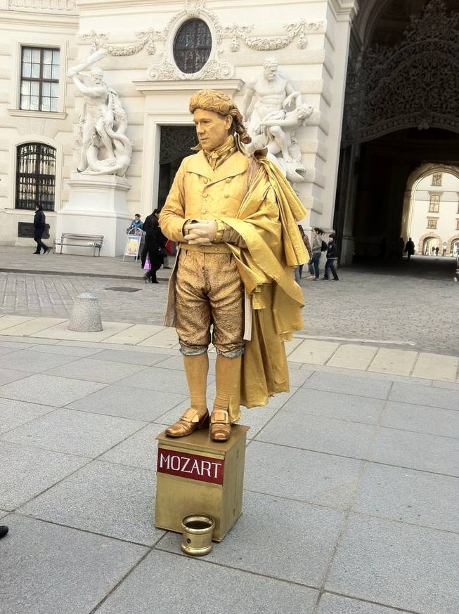 The statue of Mozart -- wait, he is real!
