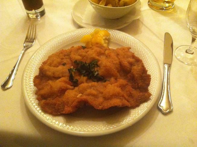 Authentic wiener schnitzel. This is a very heavy dish.