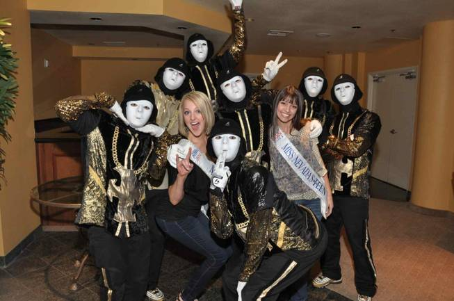 Miss Nevada Alana Lee and Miss Nevada Outstanding Teen Bailey Gumm at Jabbawockeez at the Monte Carlo.