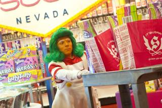 IT'SUGAR, which host a large selection of Wonka brand candy, utilized the help of Wonka'a Oompa Loompas during the opening of it's newest location at The Grand Canal Shoppes inside the Venetian, Thursday April 19, 2012.