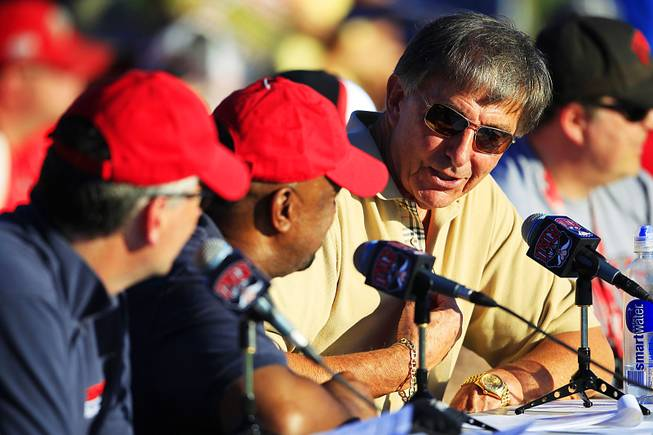 Former UNLV head coach Harvey Hyde talks during the Rebels spring football game Friday, April 20, 2012.