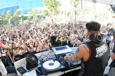DJ Pauly D at Rehab's Season 9 grand opening at the Hard Rock Hotel on Sunday, April 22, 2012.