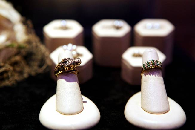 "Jewelry worn by Benjamin ""Bugsy'' Siegel's girlfriend Virginia Hill on display at the Mob Attraction Las Vegas at the Tropicana on Monday, April 23, 2012."