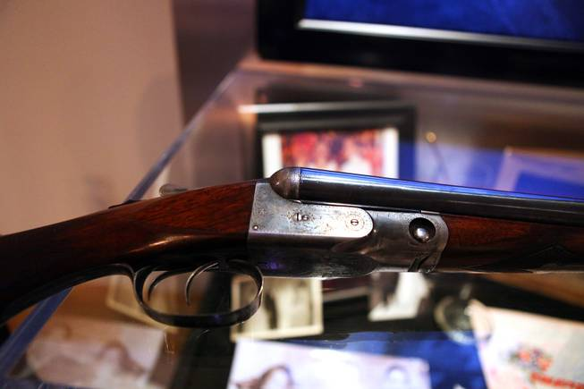Sam Giancana's shotgun on display at the Mob Attraction Las Vegas at the Tropicana on Monday, April 23, 2012.