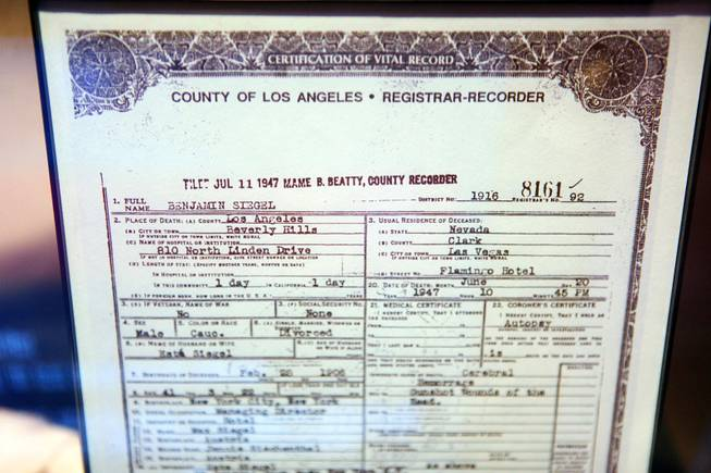 "A copy of Benjamin ""Bugsy"" Siegel's death certificate on display at the Mob Attraction Las Vegas at the Tropicana on Monday, April 23, 2012."