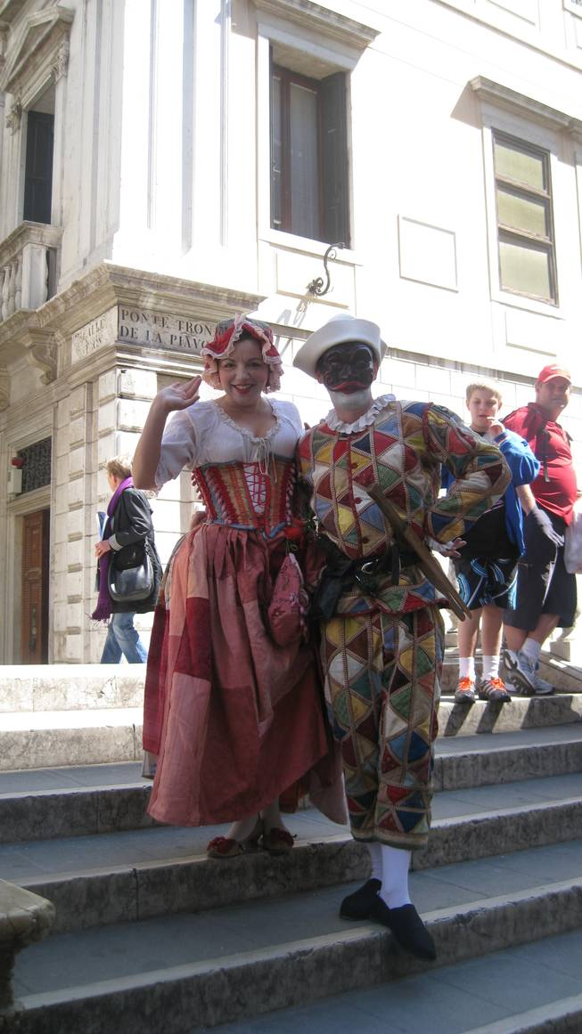 Strolling performers at St. Mark's Square, Venice.