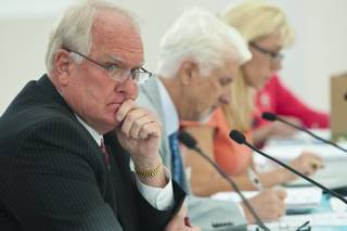 Bill Brady of The Nevada State Athletic Commission listens to the testimony of UFC fighter Alistar Overeem on testing positive for high testosterone levels, Tuesday April 24, 2012.