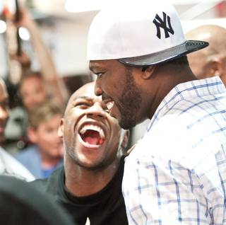 Floyd Mayweather Jr.'s media workout with friend 50 Cent at Mayweather Boxing Club in Las Vegas on Tuesday, April 24, 2012.