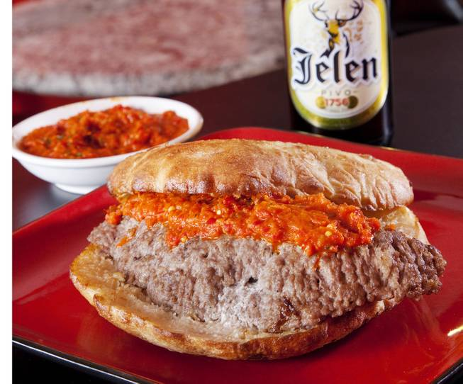A Serbian take on the Juicy Lucy. The bread is big enough to challenge you to a duel.