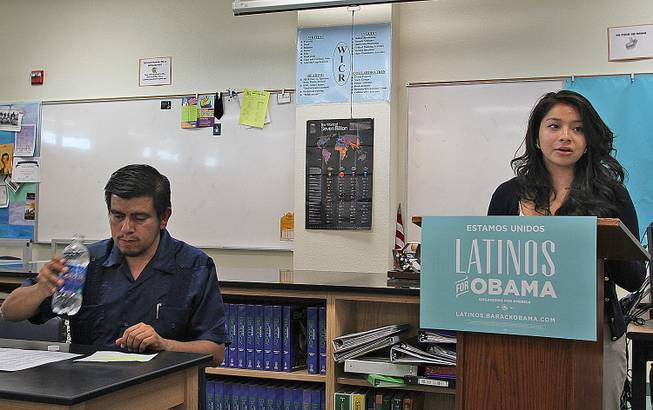Rancho High School senior and Hispanic Student Union President Debbie Rios, 18, addresses a group of students about access and affordability of college. Rios plans to attend UNLV next year, and said she is hoping to use grants and scholarships to pay for the bulk of tuition.