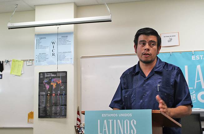 "Isaac Barron, a teacher at Rancho High School and the faculty adviser for the Hispanic Student Union, told a group of students Tuesday that if it weren't for Pell Grants he may have never made it through college. ""I don't think anyone should be turned away because of cost,"" he said."