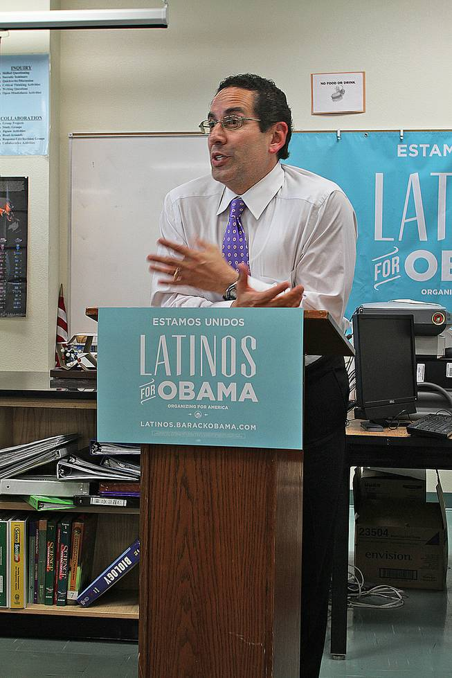 Democratic National Committee senior adviser for Hispanic Affairs Juan Sepulveda addresses the Hispanic Student Union after school at Rancho High School Tuesday. Sepulveda trumpeted President Barack Obama's programs to help students pay for college as the president campaigns for Congress to extend a reduced interest rate for federal student loans that is set to expire in July.