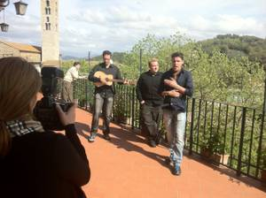 As photographer Denise Truscello records video, the Moreno brothers (from left, Tony, Ricky and Frankie) sing a song they just finished writing.