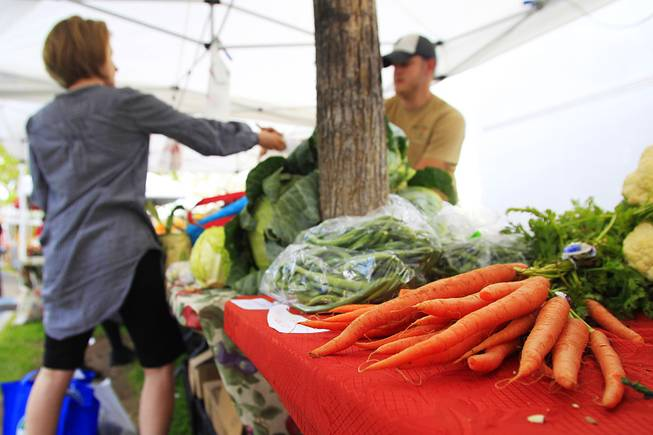 Produce for sale is seen at the Summerlin farmers market Wednesday, April 25, 2012.