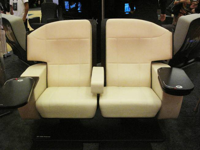 Seating Concepts luxury theater seats on display at CinemaCon on April 26, 2012.