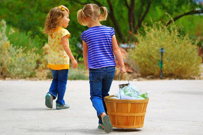 A young girl carries her family's purchases away at the farmers market at the Springs Preserve Thursday, April 26, 2012.