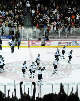 Appreciative home fans give the Las Vegas Wranglers a standing ovation as they leave the ice after defeating the Alaska Aces in Game 2 of the ECHL Western Conference Finals on Friday night at the Orleans Arena.