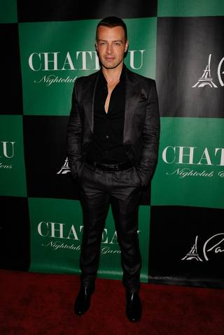 Joey Lawrence arrives to celebrate his 36th birthday at Chateau Nightclub & Gardens in the Paris on Saturday, April 28, 2012.