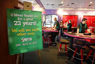 A farewell sign is shown during the Final Countdown party at O'Sheas casino Sunday, April 29, 2012. The casino will close at noon April 30 to make room for the Linq project, a $500 million dollar entertainment, retail and dining corridor set to open in 2013. A new version of O'Sheas will be rebuilt inside Linq, officials said.