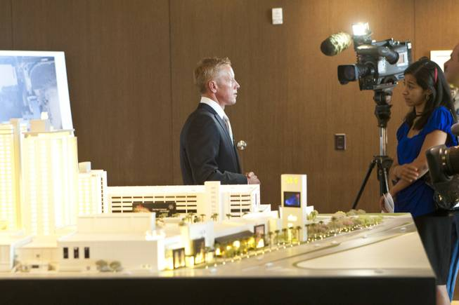 Rob Oseland, president and COO of SLS Las Vegas, talks to media Tuesday, May 1, 2012, about their newest property set to open in 2014.