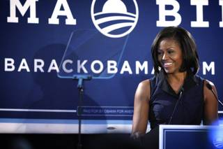 First lady Michelle Obama speaks during a stop in Las Vegas on Tuesday, May 1, 2012.   The first lady's visit to Las Vegas was part of a four-state campaign push across the West.  Nevada is among several key battleground states in the West that could determine whether President Barack Obama wins a second term in the White House. The first lady also visited Colorado and Arizona on Monday and was scheduled to stop in New Mexico after leaving Nevada.