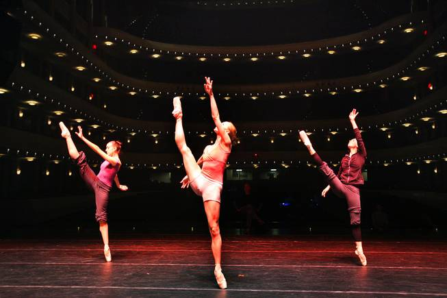 Nevada Ballet Theatre dancers Krista Baker, from left, Mary LaCroix and Demetria Schioldager dance during rehearsal at the Smith Center in Las Vegas on Wednesday, May 2, 2012.