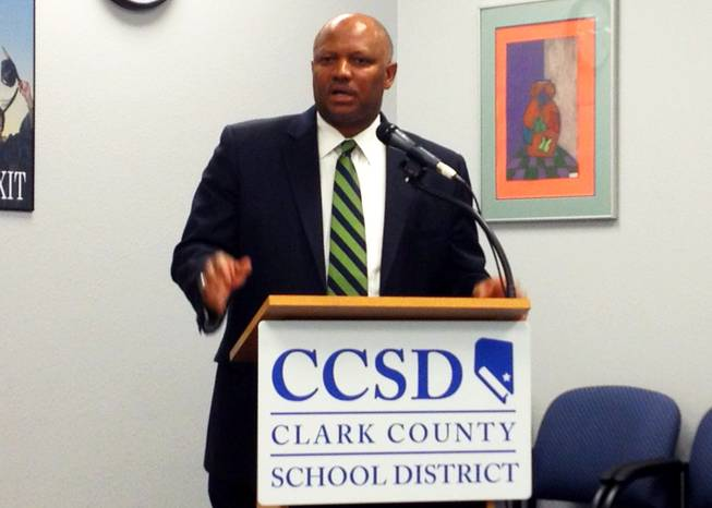 Dwight Jones, Clark County School District superintendent, addresses the media Wednesday morning after an arbitrator sided with the district's teachers in a contract dispute. The decision, Jones said, probably will force the district to lay off hundreds of teachers.