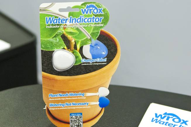 The Wrox Water Indicator, a device that tells you when to water your plants, is shown at the 2012 National Hardware Show in Las Vegas, Wednesday May 2, 2012.