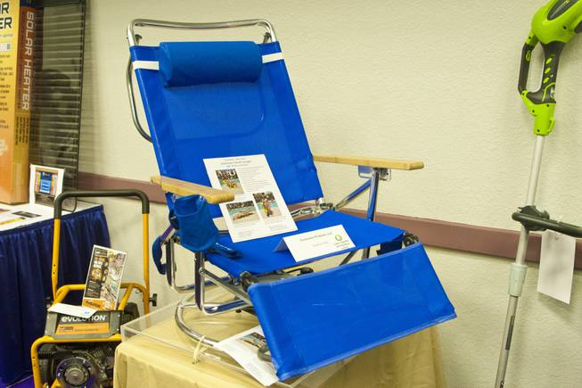 The Sun-Tracker Swivel Lounger, a beach chair that swivels, is shown at the 2012 National Hardware Show in Las Vegas, Wednesday May 2, 2012.