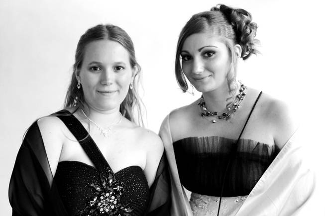 Seniors Jessica Page, 18, and Nicole Steinmann, 18, at Chaparral High School prom in Las Vegas on Saturday, May 5, 2012.