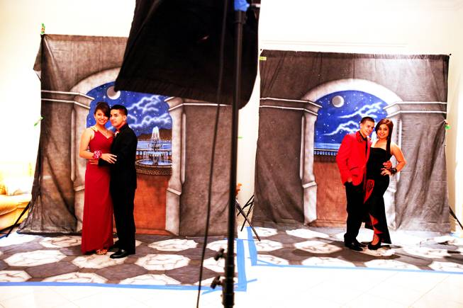 Students pose for photos at Chaparral High School prom in Las Vegas on Saturday, May 5, 2012.