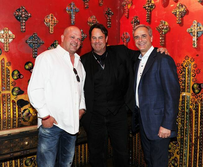 Rick Harrison, Dan Aykroyd and Chuck Bowling attend Carlos Santana's mud ceremony and the band's grand opening night at House of Blues in Mandalay Bay on Friday, May 4, 2012.