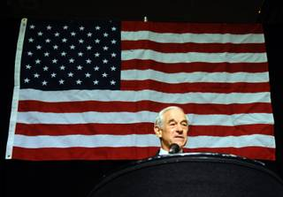 Presidential hopeful Ron Paul talks to delegates of the Nevada state GOP convention at John Ascauaga's Nugget on Saturday May 5, 2012.