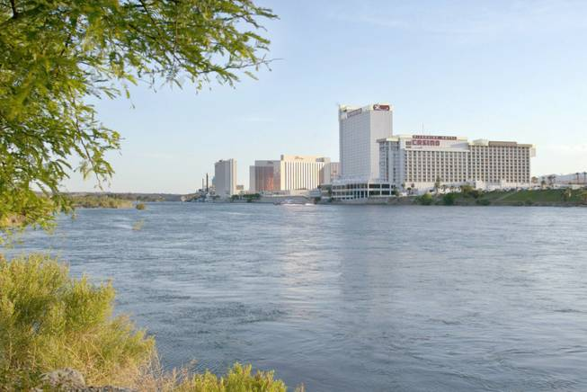 A view of Laughlin from the Arizona side of the Colorado River Wednesday, April 24, 2003.