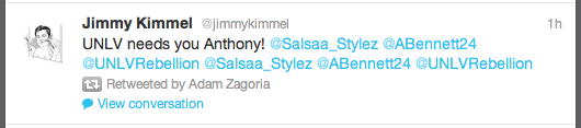 Jimmy Kimmel's tweet to Findlay Prep's Anthony Bennett on Tuesday, May 8, 2012.